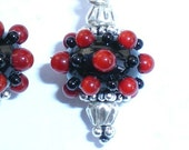 Red Blackberry Lampwork earrings