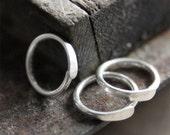 7mm 20g Silver Cartilage Hoops - 7mm Hammered Hoops earrings in sterling silver