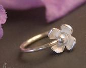 9mm 20g Flower Nose Ring / Cartilage Hoop - Sterling Silver 9mm flower earring / nose ring