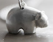 Bear necklace in brushed sterling silver