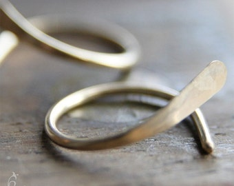 Two 13mm 18g 14K Gold Open Hoops Earrings - Hammered Open Hoop earrings in 18 gauge solid 14K yellow, rose, or white gold