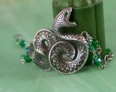 Slyther - Antique Silver Serpent Snake Emerald Bracelet