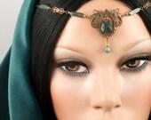 Nyhla - Elven Renaissance Maiden Moss Agate Gemstone Circlet/Headpiece w/Earrings