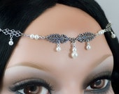 RESERVED for Jersee44 - Fiona - Bridal Renaissance Maiden Medieval Pearl Circlet/Headdress