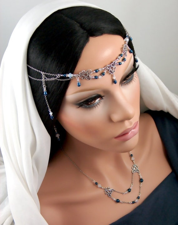 Naleigh Set - Bridal Renaissance Blue Pearl and Swarovski Circlet/Necklace/Earrings