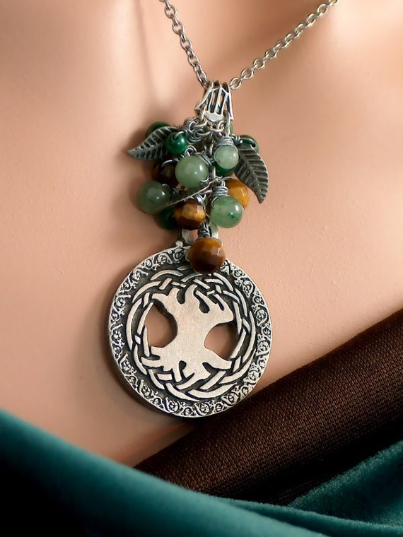 Betha - Green Aventurine, Malachite and Tiger's Eye Celtic Tree of Life Woodland Necklace and Earring Set