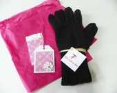 100% Monglian Cashmere Gloves Black Custom Order Made for You, Hand Knit
