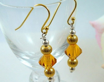 Gold Earrings With Swarovski Crystals, Topaz Crystals, Sterling Silver Beads,Birthday Gift, Elegant, Gold Filled Earwires, Dressy Earrings