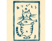 Thank you Cat (Night Blue) - Wood Cut Print Card with envelope
