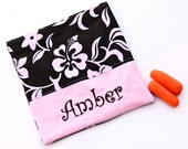 PERSONALIZED Reusable Snack and Sandwich Carrier in Pink Hawaiian Hibiscus Flower Theme
