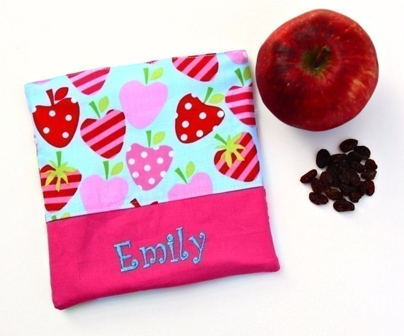 PERSONALIZED Reusable Snack and Sandwich Carrier in Summer Strawberry Theme Fabrics