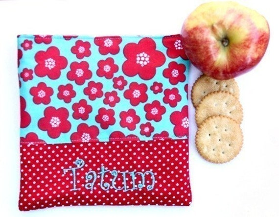 PERSONALIZED Reusable Snack and Sandwich Carrier in Red and Aqua Flower Theme
