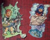 Vintage German Scraps Fairy Tales Little Red Riding Hood and Frau Holle POESIALBUM books of poetry