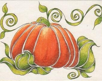 Original ACEO Fall Pumpkin