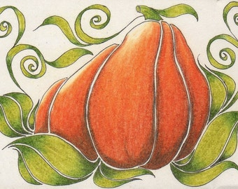 Original ACEO Fall Crooked Pumpkin