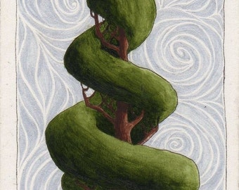 Original ACEO Spiral Topiary