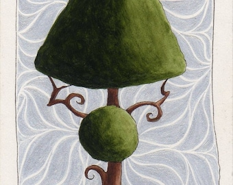 Original ACEO Topiary with Curls