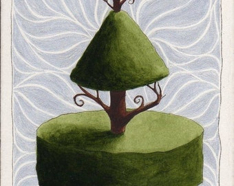 ACEO Original Topiary with Gold and Curls