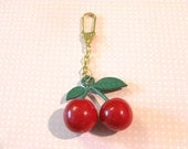 Big Red Juicy Cherry Golden Keychain, Cherry Keychain, Christmas Gift, Cute Gift, Gift for Girl, Fruit Keychain, Red Cherry keychain