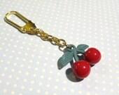 Red Red Juicy Cherry Golden Keychain, Cherry Keychain, Fruit Keychain, Cherry Hanging Decoration, Cute Cherry Key Holder, Christmas Gift