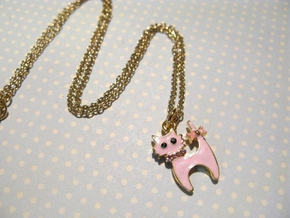 Glamorous Pink Cat Golden Necklace, Cat Necklace, Pink Cat Necklace, Cute Cat Necklace, Cute Necklace, Cute Gift for Girl, Birthday Gift