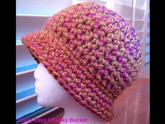 Another Crazy Easy Chunky Urban Bucket Hat  Crochet E Pattern for the Ladies-2 Hour Project
