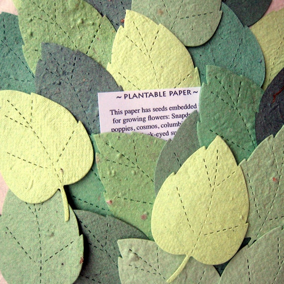 100 LARGE Plantable Seed Paper Leaves - Spring Seed Bombs Wedding Favors - Green Tree Leaves