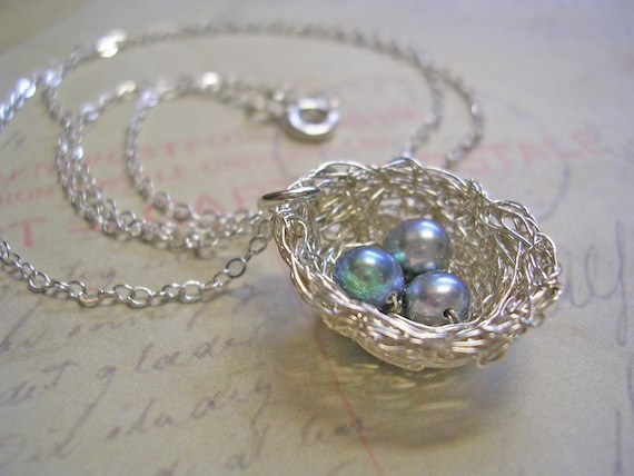 English Sparrow  Silver Nest Necklace