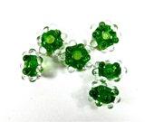 Transparent  SPRING GREEN Dew Drops Elz Beads