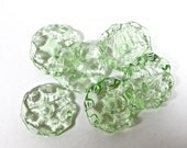 PALE GREEN Transparent Ruffle Lampwork Beads