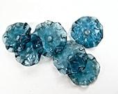 STEEL BLUE Transparent Ruffle Lampwork Beads