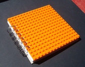 LAST ONE! Spiral Bound Journal made with bright Orange Lego (r) plate