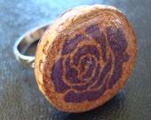 Wine Cork Ring Purple Rose