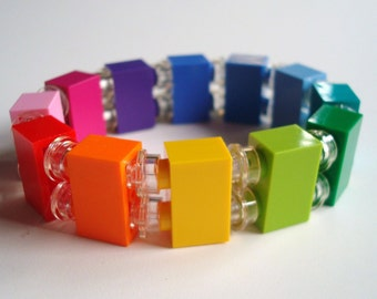 Rainbow Bricks stretch bracelet made with LEGO® pieces