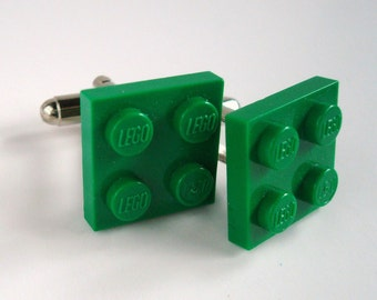 Cufflinks made with Bright Green LEGO® plates