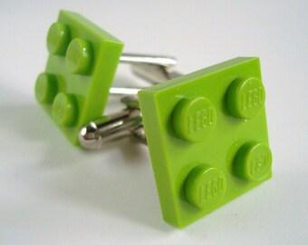 Cufflinks made with Lime Green LEGO® bricks
