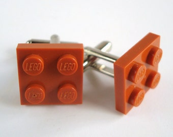 Cufflinks made from Reddish Brown LEGO® plates