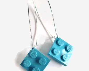 Elegant Drop Earrings made with Light Blue LEGO® pieces