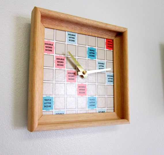Wall Clock Recycled Scrabble Board and Rack