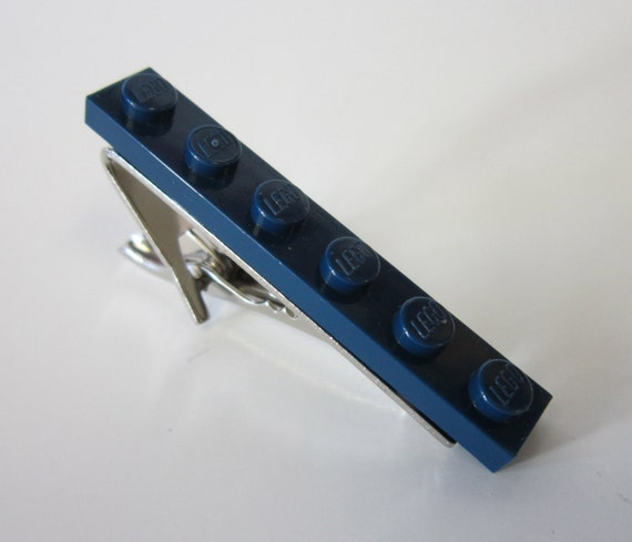 Tie Bar Clip made with Navy Blue Lego (r) plate