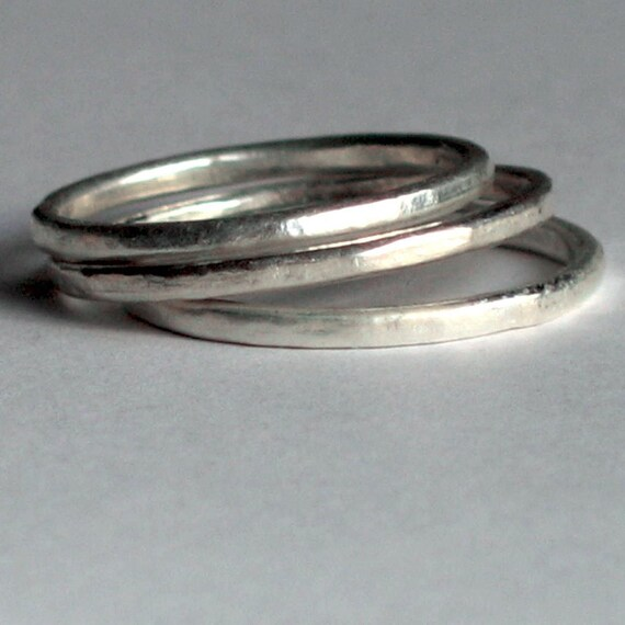 Sterling Silver Stacking Ring Bands Set of 3