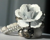 Corsage Adjustable Ring White Silver and Cream