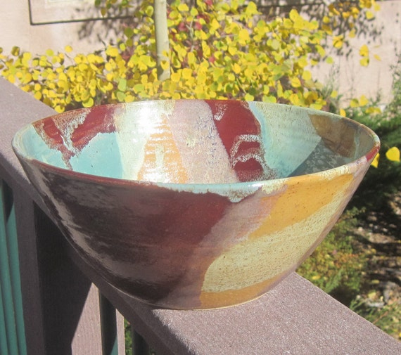 Reserved for Rachel - Pasta Bowl MARIANN Large Colorful Serving Bowl in Red , Yellow and Greens - Pottery by The Wheel and I
