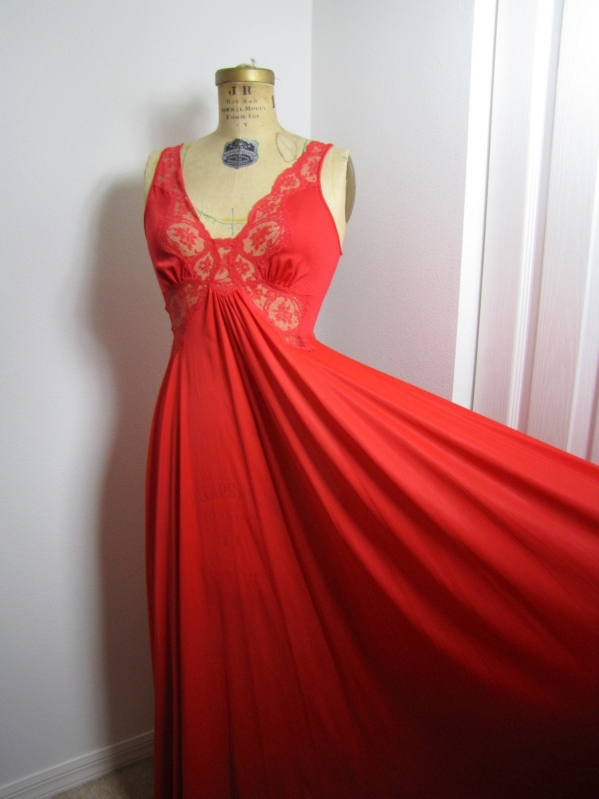 Vintage Red Olga Nightgown Size By Hakther On Etsy