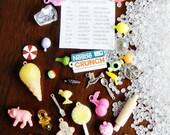 DIY I Spy Bag supplies - 30 trinkets, fabric label, and pellets - Kit H