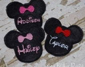 The Mouse Collection by Chic Baby Rose Mouse Wool Felt Personalized Clip