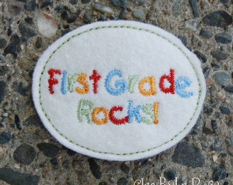 First Grade Rocks Wool Felt Snap Clip by Chic Baby Rose