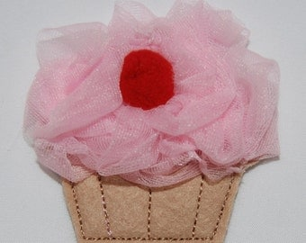 Wool Felt Fluffy Cherry Cupcake Clip by Chic Baby Rose