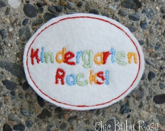 Kindergarten Rocks Wool Felt Snap Clip by Chic Baby Rose