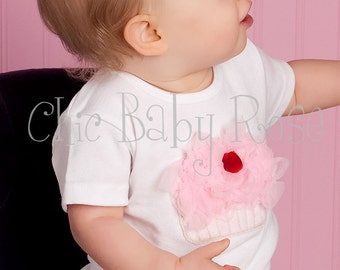 Pinkalicious Fluffy Cherry Cupcake Tank, Tee or Long Sleeve Petti Top by Chic Baby Rose